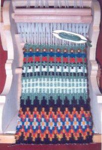 Scandinavian weaving done on a cradle loom by Nancy Ellison